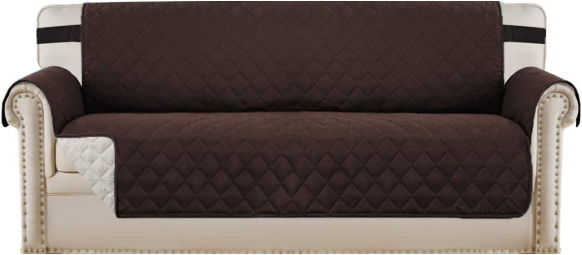 """Reversible Sofa Slipcover Quilted Furniture Protector with 2"""" Elastic Strap Water Resistant Sofa Covers Seat Width Up to 78"""" Slipcover Protect from Dogs (Oversized Sofa, Brown/Beige)"""