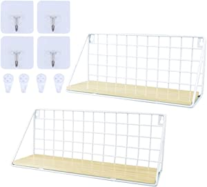ORIGA Wall Mounted Floating Shelves,Wood Floating Shelves Rustic Metal Wire Display Racks Home Decor Wall shelve for Living Room,Office,Bathroom,Kitchen (2pcs,White)