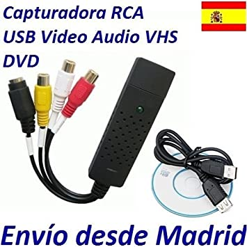 Adaptador USB Convierte Videos VHS a DVD HD Ordenador Convertir Audio Capturador: Amazon.es: Electrónica