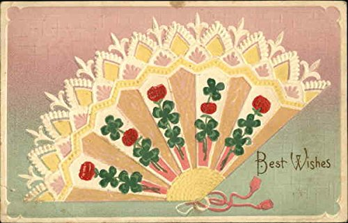 Best Wishes Fans Original Vintage Postcard