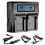 Neewer Dual LCD Battery Charger for Canon LP-E10 Batteries Compatible With Canon EOS 1100D 1200D Rebel T5 T3 Cameras(US Plug + EU Plug + Car Charger Adapter)