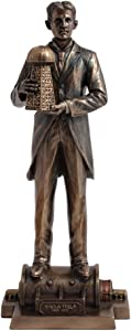Nikola Tesla Holding A Model Of Wardenclyffe Tower Statue, Cold Cast Bronze, 12 Inch Tall