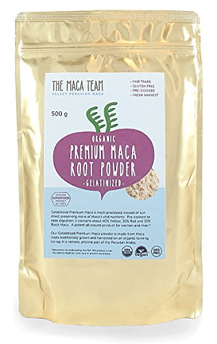 - Certified Organic Gelatinized Premium Maca Powder - Incredibly Potent, Fresh Harvest From Peru, Fair Trade, Gmo-free, Gluten Free, Vegan and Pre-cooked, 1 Lb - 50 Serving