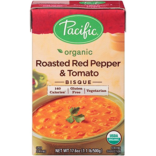 Pacific Foods Organic Roasted Red Pepper And Tomato Bisque, 17.6-Ounce Cartons, (Roasted Red Pepper Recipe)