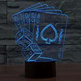 Casino Poker Dice 3D Lamp, Optical Illusion Night Light for Club/Decor/Bedroom, 7 Colors Changing Cards Sign Toys and Gifts for Kids/Birthday by YKL WORLD