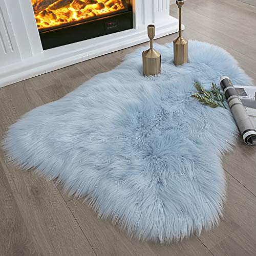 Ashler Soft Faux Sheepskin Fur Chair Couch Cover Light Blue Area Rug for Bedroom Floor Sofa Living Room 2 x 3 Feet (Material Blue Fur)