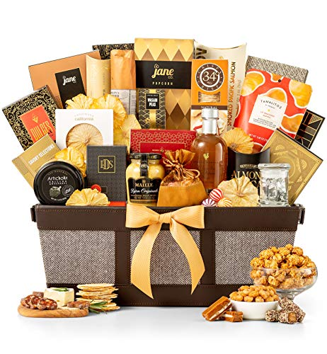 - GiftTree Fit For Royalty Gourmet Basket | Gourmet Cheese and Olives, Smoked Salmon, Pear Balsamic Vinegar, Crackers, Honey Roasted Peanuts & More | Perfect Gift for Christmas, Holidays, Executives