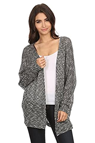 A+D Womens Casual Loose Long Sleeve Open Front Knit Cardigan Sweater (Grey/Black, Large)