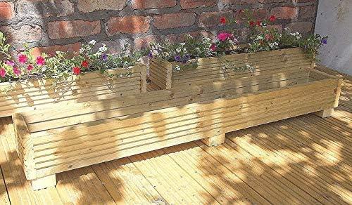 Maceta Deck Box 120 cm hecho a mano cajas de madera, (tratada a presión maceteros de madera Un Jardín Macetas de madera con un acabado natural: Amazon.es: Hogar