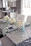 """B-COOL Silver 90""""x90"""" square sequin tablecloth Wedding/Party excellent decoration"""