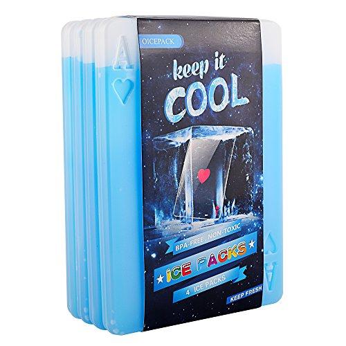 OICEPACK Ice Packs,Cool Packs for Cooler,Ice Pack for Lunch Box,Ice Packs for Cooler,Slim Reusable Cooler Ice Pack Long Lasting Freezer Ice Packs,Gel Cool Pack Medium Poker Design Set of 4 (Heart)