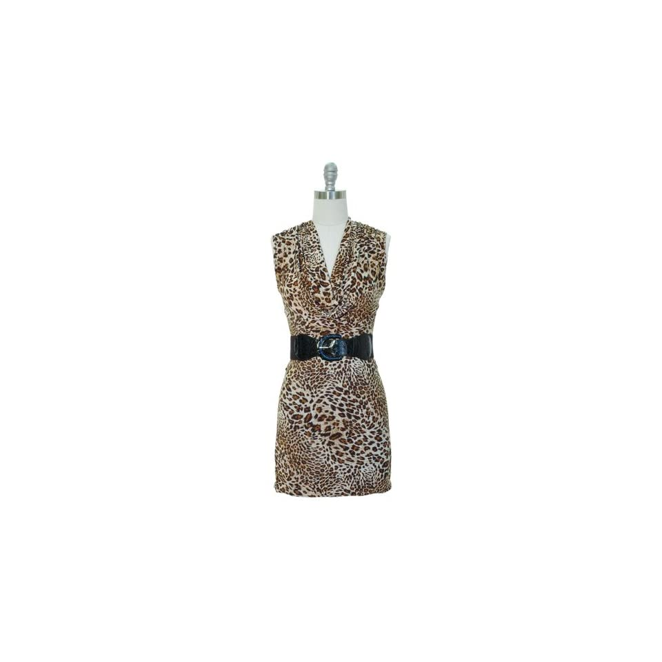 Brown & Tan Leopard Print Belted Dress W/Draped Neckline Size X Large