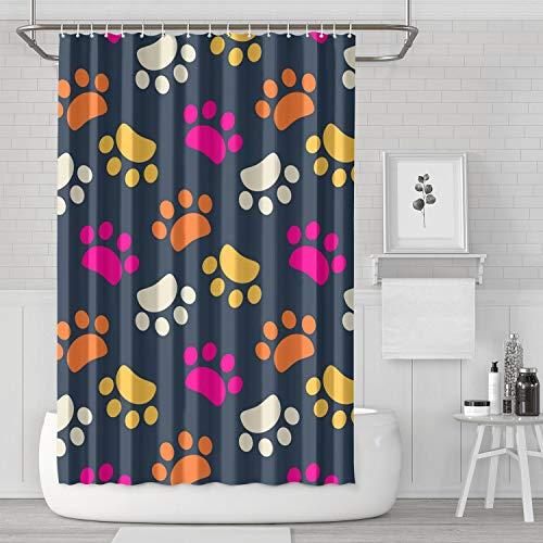 (Kens Colorful Paw Dog Bikck Backdrop Shower Curtain Bath Curtain Set Polyester Cloth Cute Pattern Soft Decorative Space Bathroom Curtain 70.9 X 70.9 Inch)