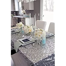 "SoarDream Sparkly Drape tablecloth Silver tablecloth Sequin Fabric tablecloth for Ceremony/Party/Halloween 50""x80""inch"