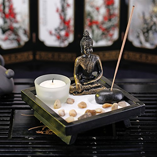Mini Zen Rock Garden with Buddha Statue, Incense and Tealight Candle Holder - MyGift by MyGift