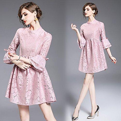 Vestido De Mangas Dulce Un Trompeta Collar Primavera Con Encaje De Encaje Señoras Slim Pink ZHUDJ dUORx7O