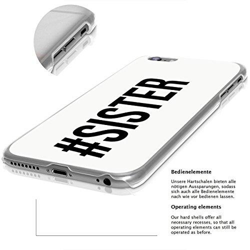 finoo | iPhone 6 und 6S Hard Case Handy-Hülle mit Motiv | dünne stoßfeste Schutz-Cover Tasche in Premium Qualität | Premium Case für Dein Smartphone| Sister hash white