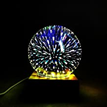 Night Light 3D colorful magic crystal glass lamp USB charging button-style decoration lamp romantic bedroom bedside atmosphere energy-saving soft light solid wood base ( PATTERN : Colorful fireworks )