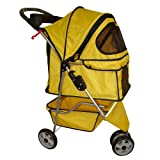 BestPet Pet Stroller Cat Dog 3 Wheel Walk Travel Folding Carrier W/Rain Cover Yellow