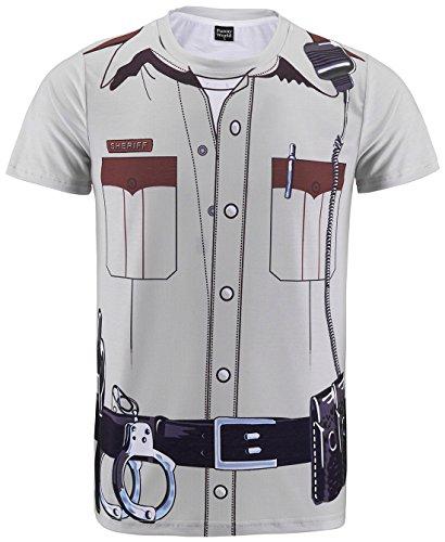 Funny World Men's Police Uniform Costume - Sheriff Shirt Costume