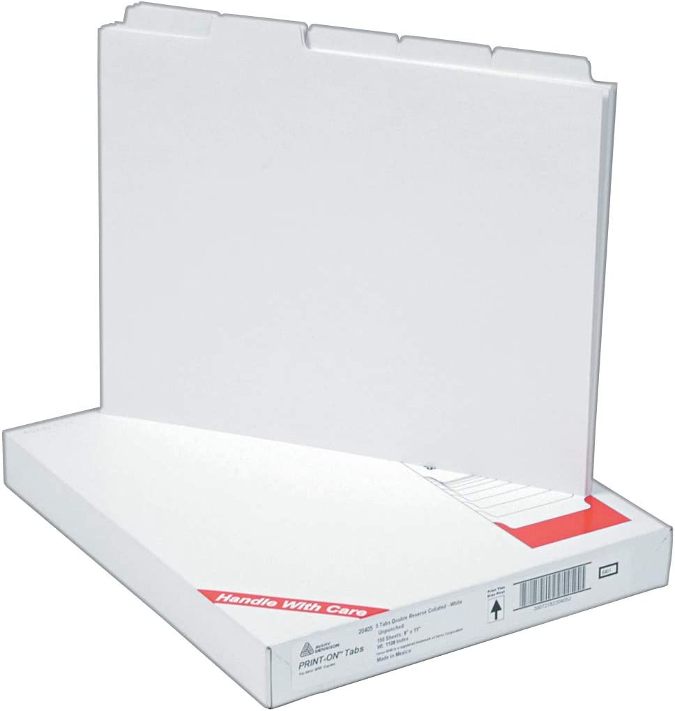 Avery Copier Tab Binder Dividers, 5 White Tabs, Unpunched, 30 Sets (20405),1.4 x 9.3 x 11.3 inches