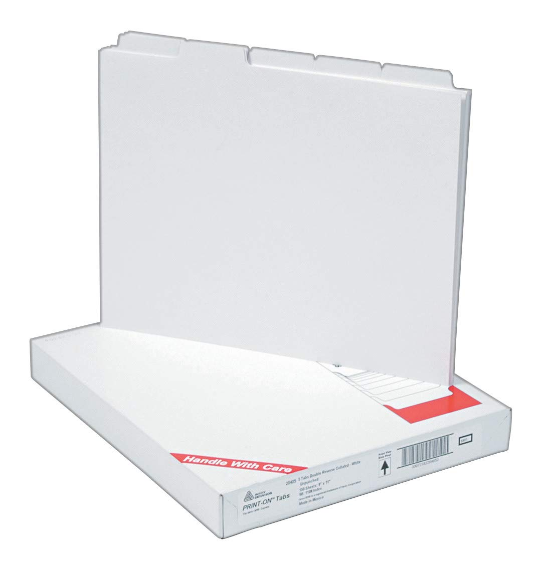 Avery Copier Tab Binder Dividers, 5 White Tabs, Unpunched, 30 Sets (20405) by Avery