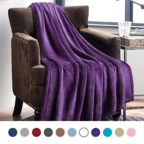 Bedsure Flannel Fleece Luxury Blanket Purple Throw Lightweight Cozy Plush Microfiber Solid Blanket