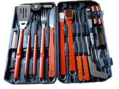 18 piezas piezas Barbeque Barbacoa de acero inoxidable accesorios para barbacoa maletín Cubiertos y embalaje original *, * *: Amazon.es: Jardín