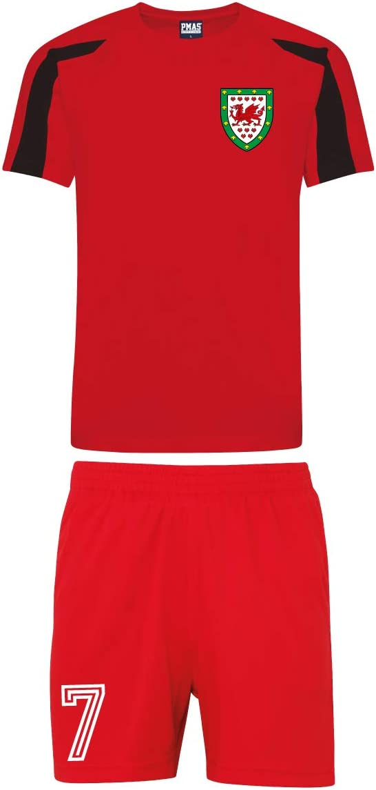 Print Me A Shirt Gales Cymru - Juego de Camiseta y Pantalones Cortos de fútbol para niños, Infantil, Fire-Red-and-Jet-Black, 9-11 yrs 32