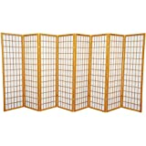 Oriental Furniture 5 ft. Tall Window Pane Shoji Screen - Honey - 8 Panels