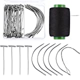 #7: Boao 70 Pieces Wig Making Pins Needles Set, Wig T Pins and C Curved Needles with 328 Yard Thread for Wig Making, Blocking Knitting, Modelling and Crafts