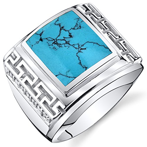 Peora Mens Greek Key Simulated Turquoise Chunky Ring Sterling Silver Size 11 ()