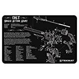 revolver parts - TekMat Colt Single Action Army Revolver Cleaning Mat / 11 x 17 Thick, Durable, Waterproof / Handgun Cleaning Mat with Parts Diagram and Instructions / Armorers Bench Mat / Black