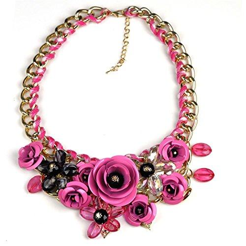 Fashion Women Bib Flower Crystal Pendant Statement Chain Chunky Choker Necklace,Tuscom (Hot Pink)