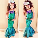 lzndeal Fashion Summer Girls Princess Dresses Fishtail Kids Ariel Little Mermaid Dress Halloween Party Cosplay Costume
