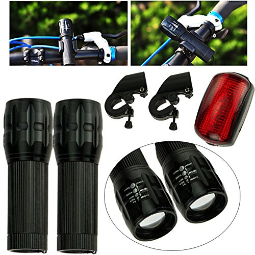 Twin Flashlight Set Safety Night Light Accident Protection LED Signal Zoom in-out Changeable Suit for Outdoor Activities, Camping, riding, home tools Easy Install IO-B9 ()