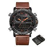 Men Sport Chronograph Watch with Date and Week Man Luxury Waterproof Casual Dual Display Wrist Watch