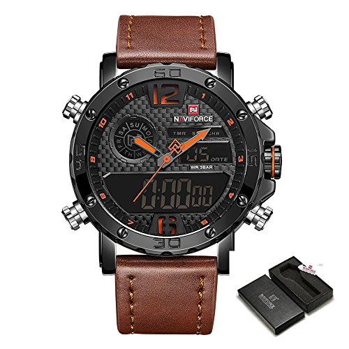 Men Sport Chronograph Watch with Date and Week Man Luxury Waterproof Casual Dual Display Wrist Watch by NAVIFORCE