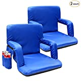 Portable Stadium Seat Chair, Sportneer Reclining Seat for Bleachers with Padded Cushion Shoulder Straps (Blue, 2 Pack)