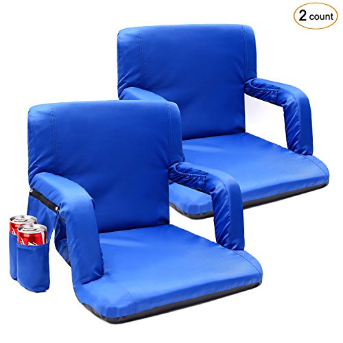 - Portable Stadium Seat Chair, Sportneer Reclining Seat for Bleachers with Padded Cushion Shoulder Straps (Blue, 2 Pack)