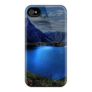LyUUWCC7157wsBCt Tpu Phone Case With Fashionable Look For Iphone 4/4s - Blue Mountains Around A Lake Hdr