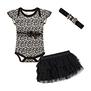 Mud Kingdom Cute Thanksgiving Baby Girl Outfits 3-6 Months Clothes Sets Leopard 6M