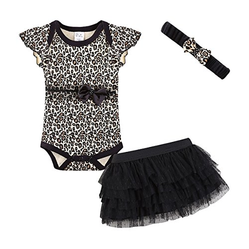 Mud Kingdom Cute Thanksgiving Baby Girl Outfits 0-3 Months Clothes Sets Leopard 3M ()