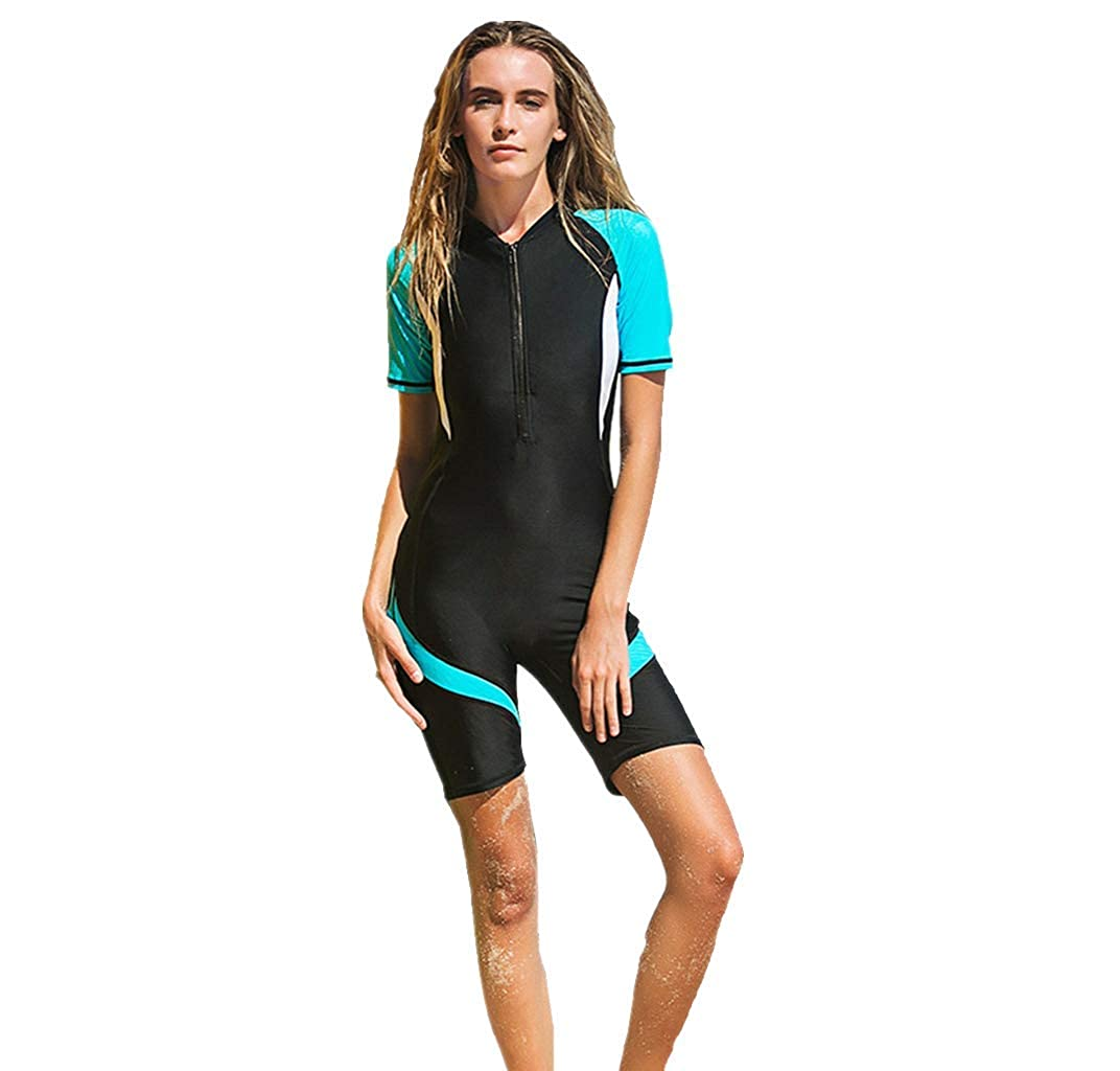 WoCoo Women Rash Guard Neoprene Shorty Surf Suit,Two Piece Swimming Short Sleeve Surfing Wetsuits Swimming Bathing Suit