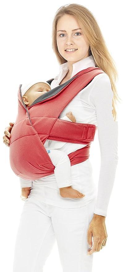 Wallaboo Cross - Mochila portabebé ajustable y ergonómica, color rojo
