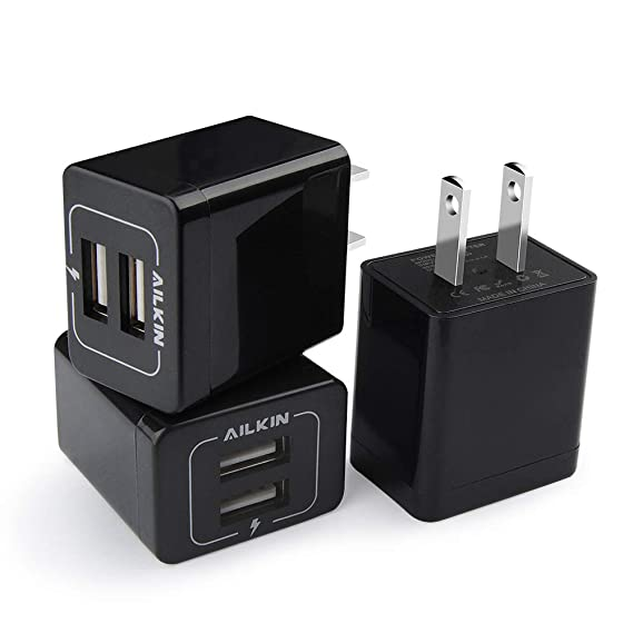 USB Wall Charger, AILKIN 3-Pack 2.1A Dual Port USB Plug Power Adapter Charging Cube Replacement for iPhone X/XR/Xs/Xs Max/8/8/7/6S/6S Plus, iPad, ...