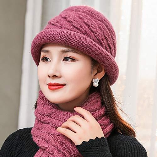 Punto Mediana Edad De Pink Anciano Para Xinsu Señora color Pink Línea Invierno Sombrero Mujer Sombrero gnFAw4z