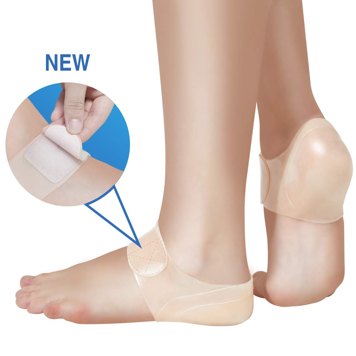 TENMAND Adjustable Heel Protectors- Silicone Gel Heel Pads Cushion Cups for Bone Spur Heal Dry Cracked Heels Achilles Tendinitis Relief Plantar Fasciitis Inserts for All Size Feet of Men & Women