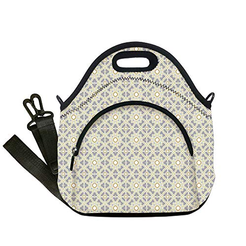Insulated Lunch Bag,Neoprene Lunch Tote Bags,Geometric Decor,Arabesque Moroccan Floral Azulejos Inspired Squares Circles Artwork,Taupe Light Yellow,for Adults and children (Azulejos De Toronto)