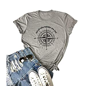 Not All Who Wander are Lost Women Travel T Shirt Compass Graphic Baseball Tee Short Sleeve Cotton Casual Tops